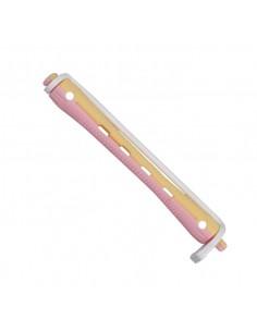 Bigudis plastico largo de color rosa y amarillo(12u)