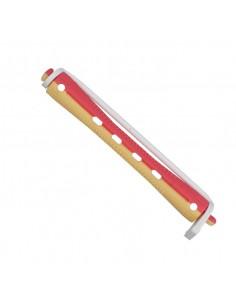 Bigudis plastico largo de color amarillo y rojo (12u)